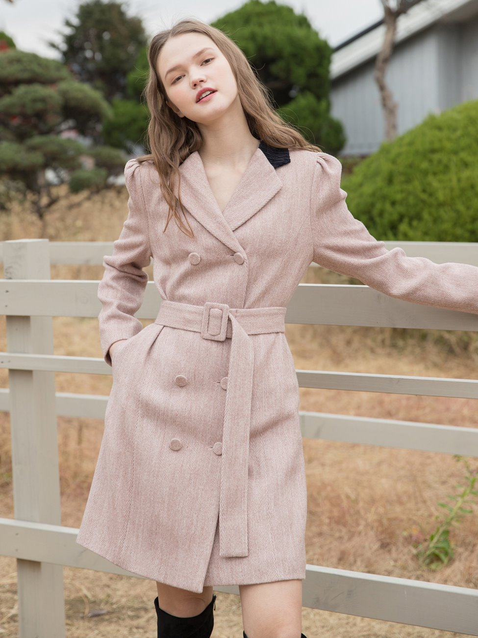 Herringbone Jacket Belt Dress Pink