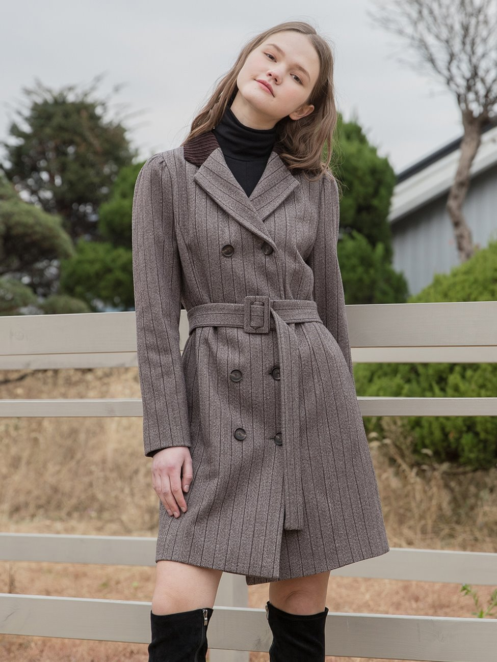 Stripe Jacket Belt Dress Brown