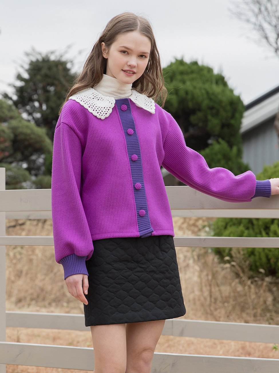 Point Button Knit Cardigan Purple
