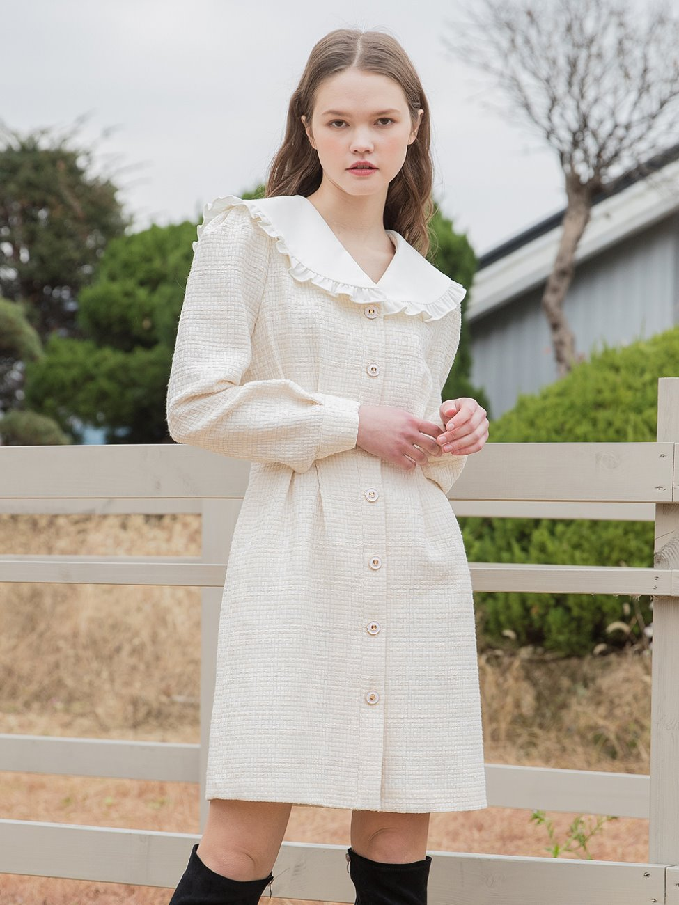 Frill Collar Tweed Dress Cream