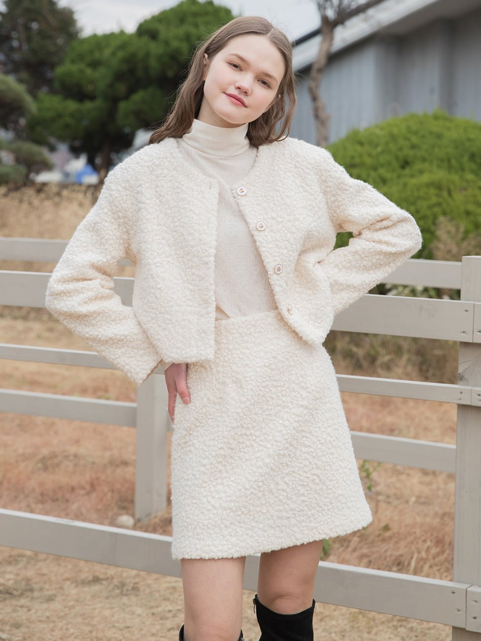 Boucle Crop Jacket Cream